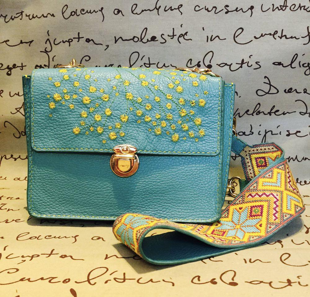 Шкіряна сумка з вишивкою