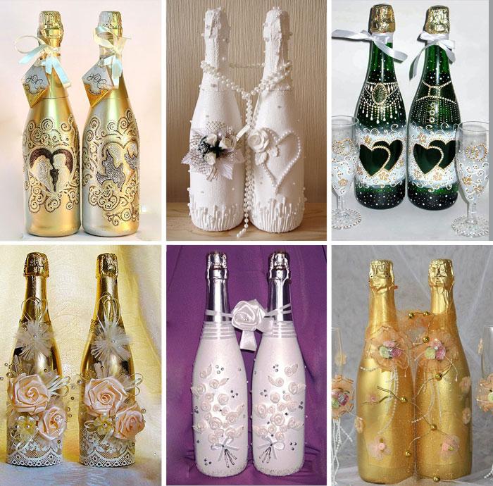Как красиво украсить бутылку на свадьбу своими руками 88